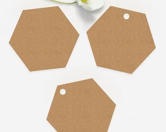Cardstock Hexagon Tags Honeycomb Gift Tags Paper Hexagonal Favor Tags 12 Sizes Available in Color Choice Set of 40