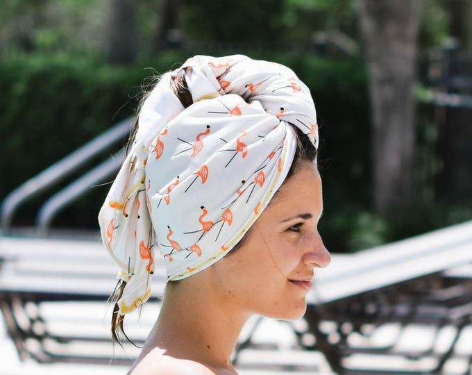 small | flamingo | organic cotton t-shirt hair towel