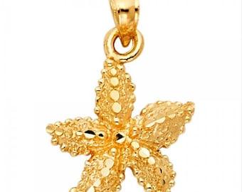 14K Solid Yellow Gold Starfish Pendant - Sea Beach Diamond Cut Necklace Charm