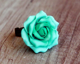 Flower ring Mint Rose ring Summer jewelry Polymer clay jewelry Handmade ring Mint rose Sculpted flower ring Womens jewelry  Summer ring Gift