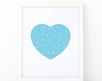 Blue heart, heart print, Nursery Wall art, heart wall art, nursery decor, Printable art, scandinavian art, love wall art, modern room decor
