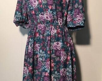 Vintage 1970s/80s California Looks Teal and Violet Belted Floral Dress