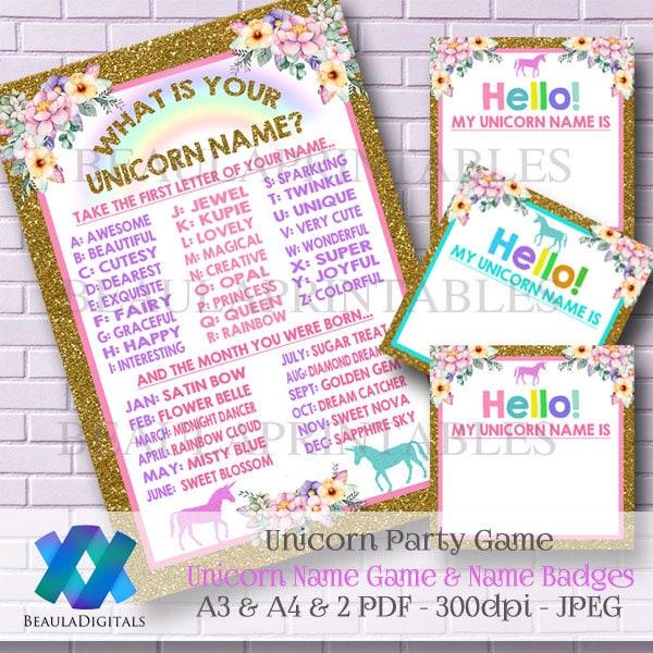 Unicorn Party Game Unicorn Name Game Printable Unicorn Name