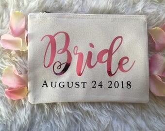 Metallic Wedding Personalised make up bag | Personalised gift | Bridesmaid gift  | bride bag | Wash bag | Personalised metallic bag