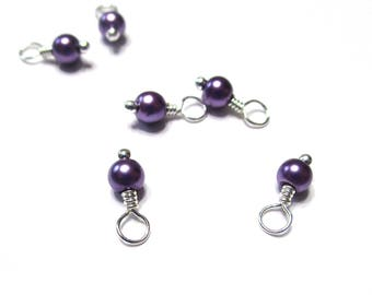10PC. PURPLE Pearlized Finished 4MM Glass Bead Charm// Hand Made High Quality Bead Charms Silver Tone plated finish