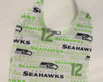 Seattle Seahawks Baby Bib Great Gift for that 12th man fan! 100% Cotton. Handmade! Unique! Photo Prop!