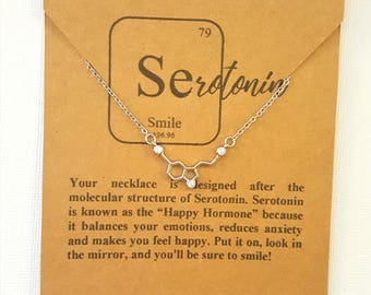 925 Sterling Silver Serotonin Happiness Molecule Science Chemistry Psychology Graduation Gift Necklace with Crystal Quartz Gemstones