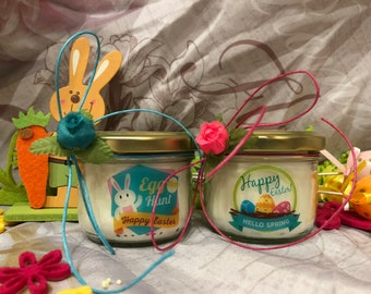 Happy Easter 2 jars with candles with assorted scents of soy wax and essential oils with wooden wick