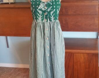 60's Green Gingham Tiki Mumu Hawaiian Aloha Dress. Maxi dress. Sleeveless. Size Medium