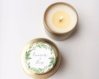 ONE Single Wedding Favors, 2 oz Gold Tin Personalized Candle, Candle Wedding Favor, Wedding Favor Candle, Greenery Wedding, Shower Favor