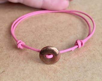 Leather Cord Bracelet with button