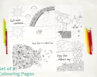 Printable coloring pages - fairy Trixilie - Enjoy food 6 Set  - Coloring page - Print and color - Kids coloring - Coloring sheet