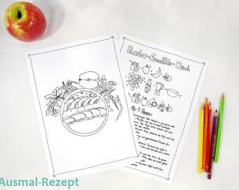 Ausmal Zeichnung  für Kinder - Kinder lernen kochen - druckbare Ausmalseiten - veganes Rezept - Rocula Smoothie Bowl - Fee Trixilie