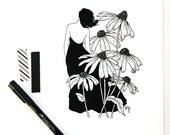 Black-Eyed Susan Botanical Illustration Fine Art Print, Wildflower Drawing, Romantic Art for the Home
