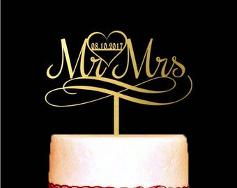 Mr and Mrs Cake Topper, Custom Date, Gold Cake Topper, Heart, Modern Cake Topper, Wedding Decorations, Party Decor, Soon to be Mrs