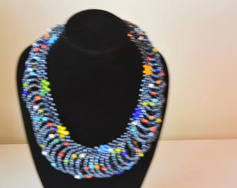 African Maasai Beaded Necklace | Gray Mixed  Necklace | African Jewelry | Tribal Necklace |Unique Necklace |One size fits all |Gift for Her