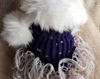 Dallas Cowboy colors Dog Sweater with Tutu