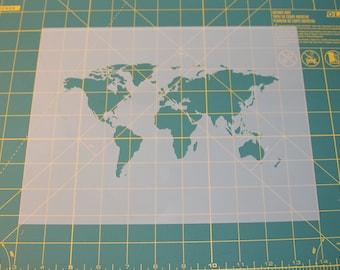 World Map Stencil - Reusable DIY Craft Stencils of a World Map