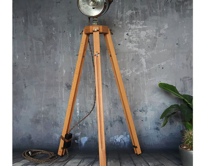 "Featured listing image: Edison lamp, ""Biker Light"", industrial lamp, recycled metal, wooden lamp, handmade"