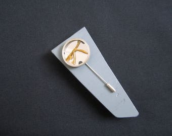 Simple Recovery Pin. Recycled silver encloses broken mirror, repaired in the Kintsugi style. beautiful Healing gift.