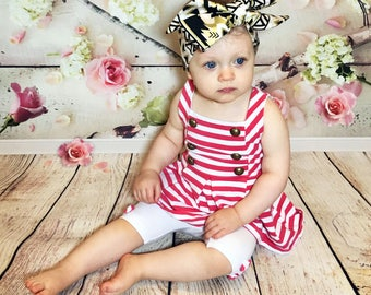 Black & Gold Aztec Headwrap- Headwrap; Fabric Head Wrap; Baby Headband; Toddler Headband; Newborn Headband; Big Bow Headwrap; Head Wrap