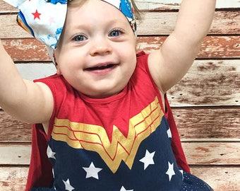 Matching Headbands- Wonder Woman Headband; Wonder Woman Bow; Wonder Woman Headwrap; Mommy and Me Headbands; Bow Headband; Knotted Headband