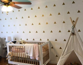 100 Gold Metallic Triangle Wall Stickers, Decoration Confetti, Nursery Wall Decals, Vinyl, Envelope, Car, Office, Wallpaper, Wedding