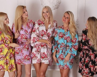 Sale! 14 Colors, Bridesmaid Robes, Bridesmaid Gift, Kimono Robe, Floral Bridesmaid Robe, Set of Floral  Bridesmaid Robes, Fast Ship from USA