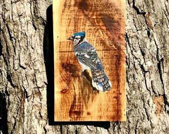 ORIGINAL WATERCOLOR ART,Blue Jay Painting,Bird Painting,Bird Art,Bird Wall Art,Bird Decor,Bird Wall Decor,Painting On Wood,Birds,Animal Art
