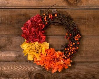 Fall Wreath, Rustic Fall Wreath, Door Wreath, Fall Decoration, Fabric Wreath, Handmade Wreath, Small Wreath, Mini Wreath