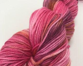 Hand Dyed Yarn Oddball Varigated Pink, Plum & Orange 100g/225m DK Double Knitting 75/25% Superwash Merino/Nylon Mulesing Free