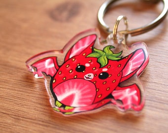 Strawberry Fruit Bat Cute Keychain, Kawaii Hanging Berry Bat Keyring, Birthday Gift, Gifts for Animal Lovers, Super Cute Bats