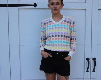 Vintage 70's Rainbow Argyle Golf Sweater