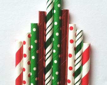 Christmas Party Straws• Holiday Straws •Christmas Paper Straws• Polka Dot Straws• Holiday Party•Foil and Matte Mix• Ugly Christmas Sweater