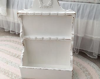 Shabby Chic Organizer, Nail Polish Storage, Jewelry Display, Cheer Bow Display, Accessory Holder, White, Lightly Distressed, Cottage Chic