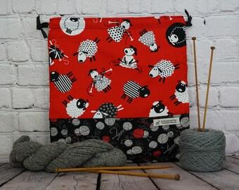 Red and black Sheep Knitting bag, Drawstring project bag, Crochet Bag, Yarn Bag,  Project Bag, Sock knitting bag
