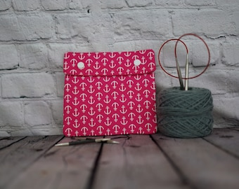 Pink anchors Circular Knitting Needle Case or Notions case for Knitting Notions, Crochet notions case, Accessories case, Sewing
