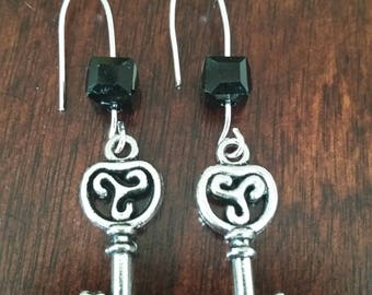 Black earrings, Crystal earrings, Cube earrings, Key earrings, Dangle earrings, Women's earrings, Gifts for her, Gifts under 20