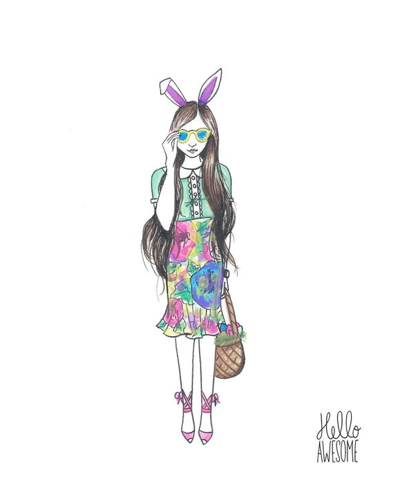 Bunny Honey Watercolor Modest Fashion 8x10 Print