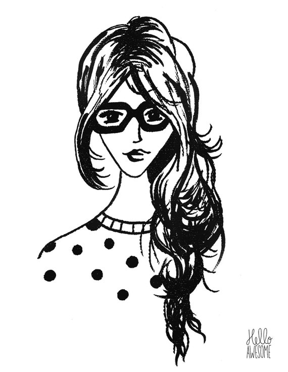 Penelope Modest Fashion Illustration 5x7 Print