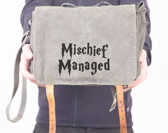 Mischief Managed Shoulder Bag, Messenger Bag, Cross Body Bag