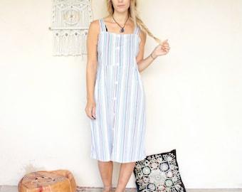 Vintage 80's Pastel Candy Stripe Midi Dress