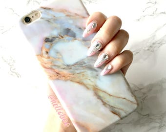 iPhone X 8 7 6s 6 Plus Case, VIOLET SKY Rose Marble Sky iPhone X Case iPhone 8 Case iPhone 7 Case Rose Gold Marble iPhone Silicone Cover