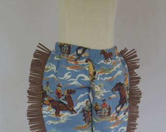 Retro Baby Pants, Western Baby, Chaps, Rockabilly Baby Boy Pants, Cowboy Pants with Fringe, Sizes 3mo, 6mo, 12mo, 18mo