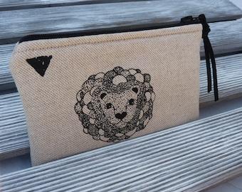 Woman Wallet, Change purse, Zipper Coin Purse, Zipper Wallet, Zipper Pouch, Card Holder, Make Up Bag, Headphone Pouch, Small Zip Pouch, Lion