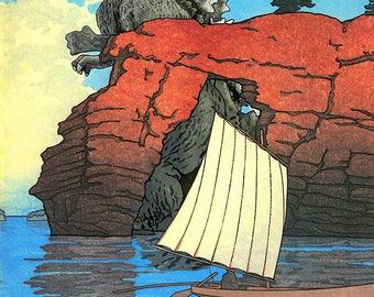 Godzilla Bay Japanese Woodblock Print