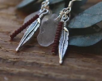 Lake Superior Seaglass+BOHO Earrings//Beaded+Feather Charms//Dangle Earrings//Duluth MN