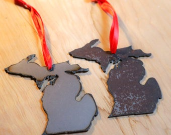 Mini Rustic Metal Michigan Ornament