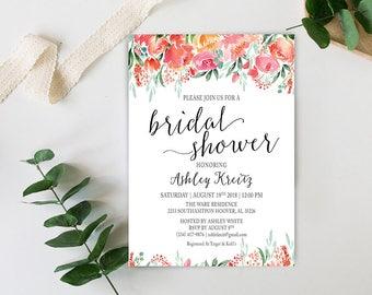 Watercolor Bridal Shower invitation, Bridal shower invitation, Rustic bridal shower invitation, Floral Bridal Shower - US_BI1805b