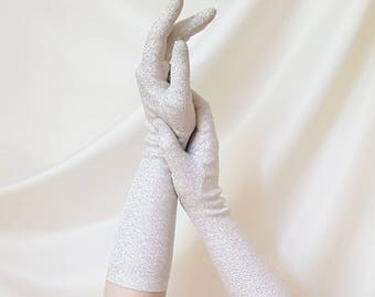 Vintage 1950s - 1960s Silver Lurex Elbow Length Evening Gloves   Size 7  